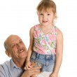 Grandfather with the granddaughter isolated on white background — Stock Photo