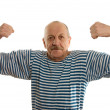 The elderly man in a stripped vest — Stock Photo #4874215