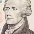 Stock Photo: President hamilton face on the ten dollar bill