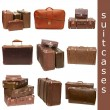 Heap of old suitcases isolated on white. collage - Foto de Stock