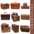 Heap of old suitcases isolated on white. collage - Stock Photo