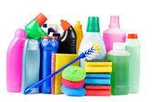 ассортимент средств для очистки изолированные — Стоковое фото