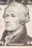 President hamilton face on the ten dollar bill — Stock Photo