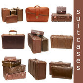 Heap of old suitcases isolated on white. collage — Stock Photo
