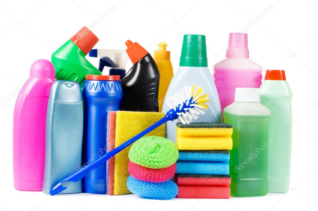Assortment of means for cleaning isolated  — ストック写真 #4874117