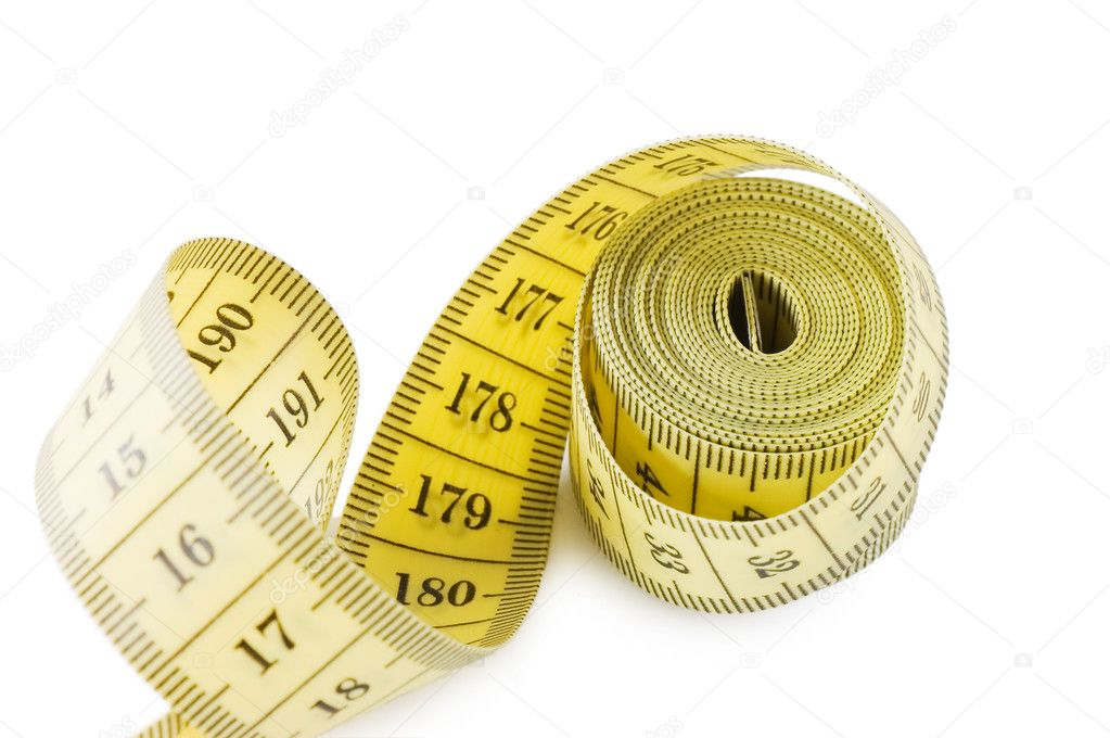 Yellow measuring tape isolated on white background — Stock Photo #4914144