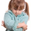 The little girl takes offence isolated on white background - Stock Photo