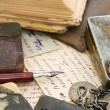 Old letters and pen as a background — Stock Photo #4976153