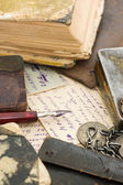 Old letters and pen as a background — Stock Photo