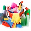 Assortment of means for cleaning isolated — Stock Photo #5047091