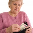 The elderly woman with a purse — Stock Photo