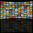 Stock Photo: Tv screen showing pictures, all used images are my property