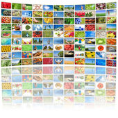 Tv screen showing pictures, all used images are my property — Stock Photo