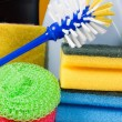 Assortment of means for cleaning — Stock Photo #5118344