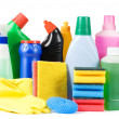 Stock Photo: Assortment of means for cleaning isolated