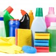 Стоковое фото: Assortment of means for cleaning isolated