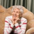 Portrait of the old woman on a sofa — Stock Photo #5170855