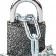 Chain with the lock on white - Stock Photo