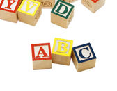 Cubes with letters isolated on white background — Stock Photo