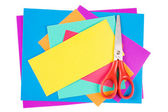 Colour paper with Scissors isolated on white — Stock Photo