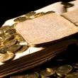 The old book with gold coins - Stock Photo