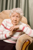 Portrait of the old woman on a sofa — Stock Photo