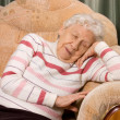 The elderly woman sleeps on a sofa — Stock Photo