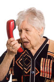 The elderly woman speaks on the phone — Foto Stock