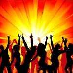 silhouetten von tanzenden mädchen und jungen — Stockvektor