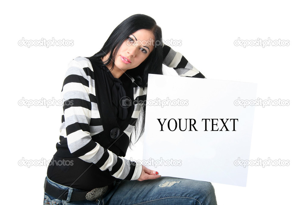 The beautiful brunette holds the board on a knee on a white background — Stock Photo #4240043