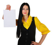 The business girl with the advertizing form — Stock Photo