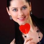 Red lollipop heart — Stock Photo #4998988