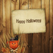 Card for the holiday  with scarecrow on the wooden background — Stok fotoğraf