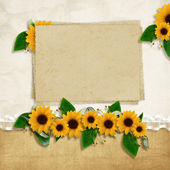Card for the holiday with autumn leaves and flowers on the abstr — Stock Photo