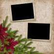 Card for the holiday with branches and flower on the abstract ba — Stock Photo