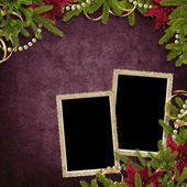 Card for the holiday with branches and flower on the abstract b — Stock Photo
