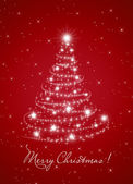 Card for the holiday with branches and fir-tree on the red back — Stock Photo