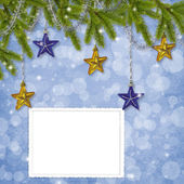 Card for the holiday with branches and balls on the abstract bac — Stock Photo