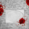 Vintage card for the holiday with red rose on the abstract backg — Foto Stock