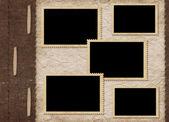 复古封面为册页以抽象艾菲尔铁塔的背景上的照片的 — 图库照片