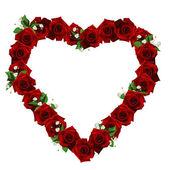 假期与白色背景上的红玫瑰卡 — 图库照片