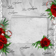 Vintage card for the holiday with red rose on the abstract backg — Stok fotoğraf
