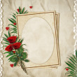 vintage card for the holiday with red rose on the abstract backg — Stock Photo #4934271