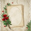 Vintage card for the holiday with red rose on the abstract backg — Stockfoto