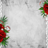Vintage card for the holiday with red rose on the abstract backg — Stock Photo