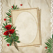 Vintage card for the holiday with red rose on the abstract backg — Photo