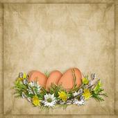 Carta di pasqua per una vacanza con uovo sullo sfondo astratto — Foto Stock