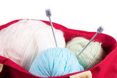 Bag with wool balls — Stock Photo