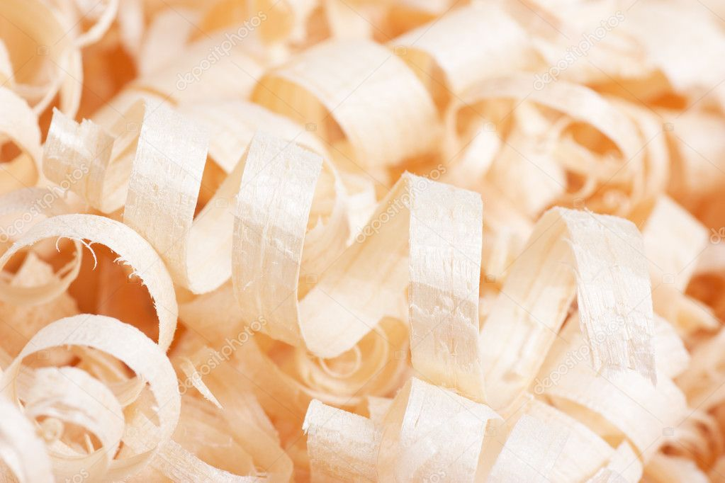 Wooden shaving texture. Macro view of spiral shavings. — Stock Photo #4590711