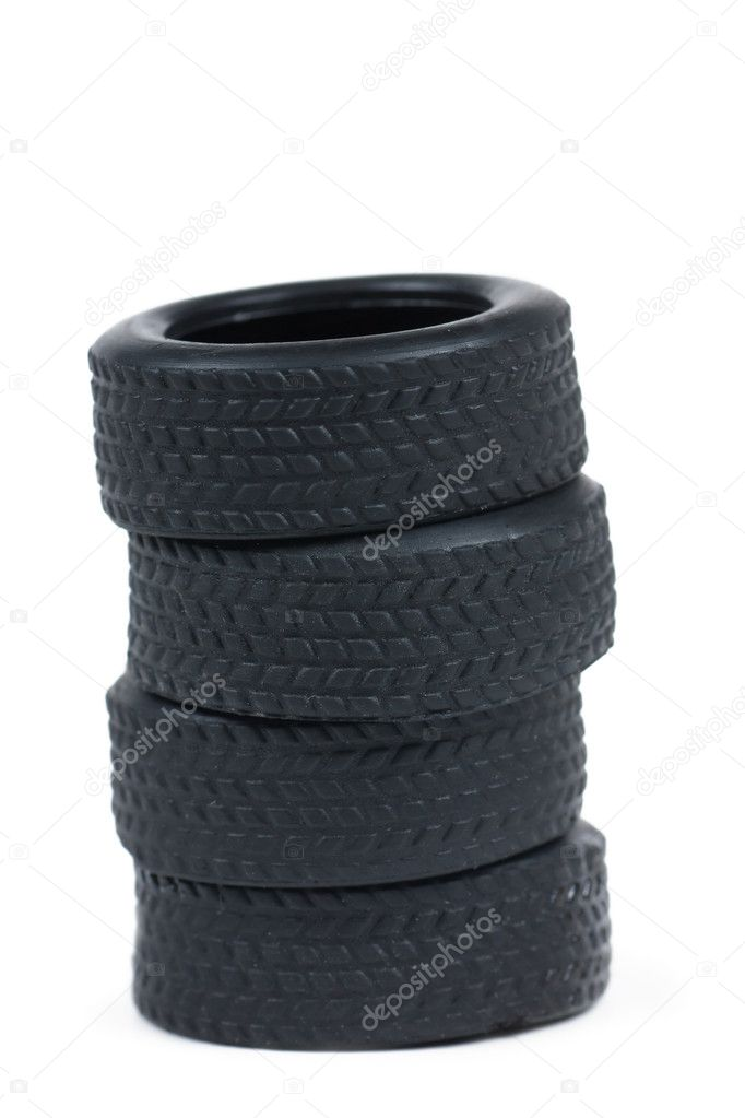 A stack of toy tires isolated on the white  Stock Photo #4612025